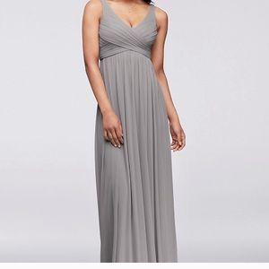 Davids bridal dress long mesh dress cowl Mercury 0